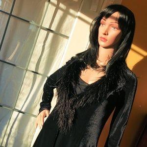 Georgiou Studio Velvet Coat w/ Marabou Collar